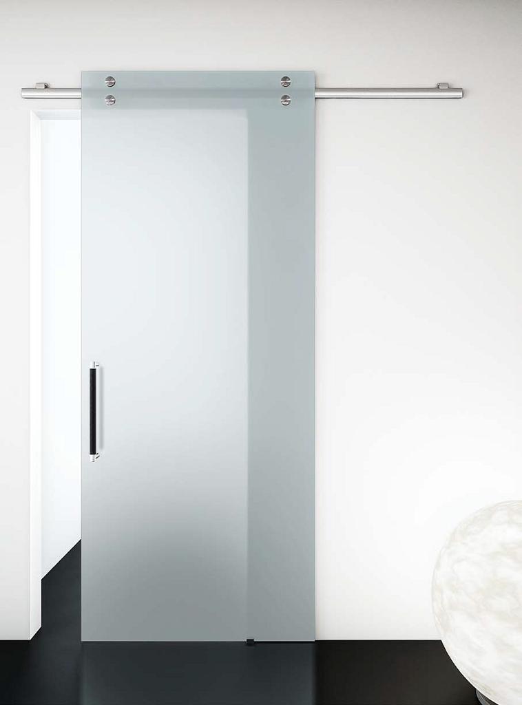 Porta in vetro satinato scorrevole esterno muro | Serramenti Tomasini